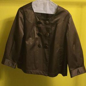Light brown 3/4 sleeve round neck button jacket
